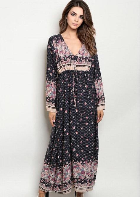3110 NAVY FLORAL DRESS