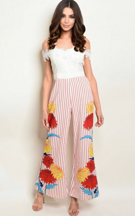 17933 WHITE RED STRIPES JUMPSUIT