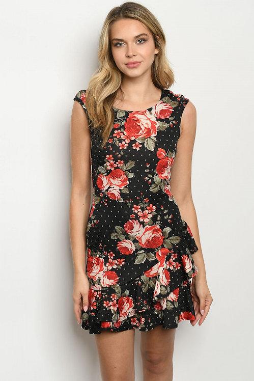 8440 BLACK FLORAL DRESS