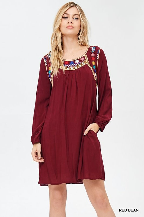 3289 Solid dress with embroidered yoke dress