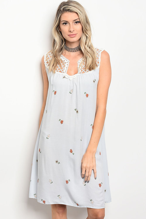50191 BLUE FLORAL DRESS