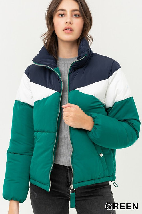 8034 Color Block Padding With Stand Collar and Pockets