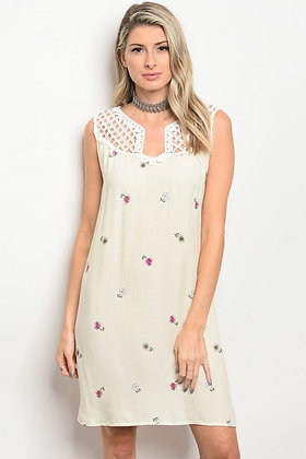 50191 CREAM FLORAL DRESS