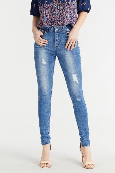 90150 High-Rise Destructed Pebble Washed Skinny