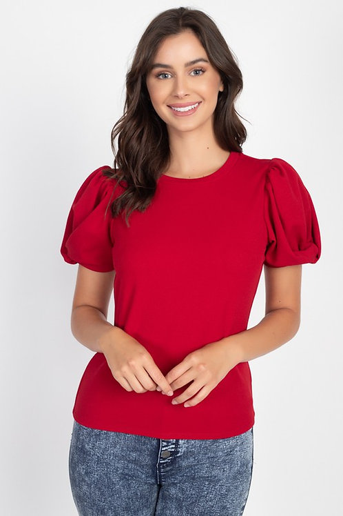 54489 Twisted Sleeve Round Neck Top