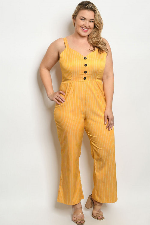 10401X MUSTARD STRIPES PLUS SIZE JUMPSUIT