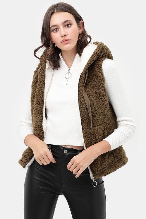 5009 Faux Sherpa Teddy Fleece Piled Zip Up Vest Jacket