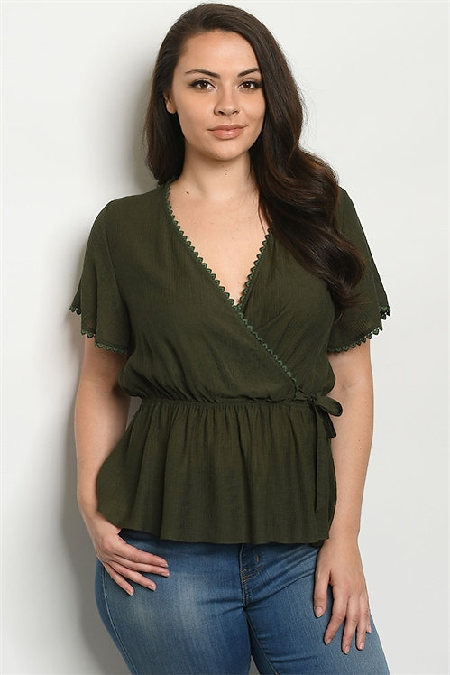 10634X OLIVE PLUS SIZE TOP