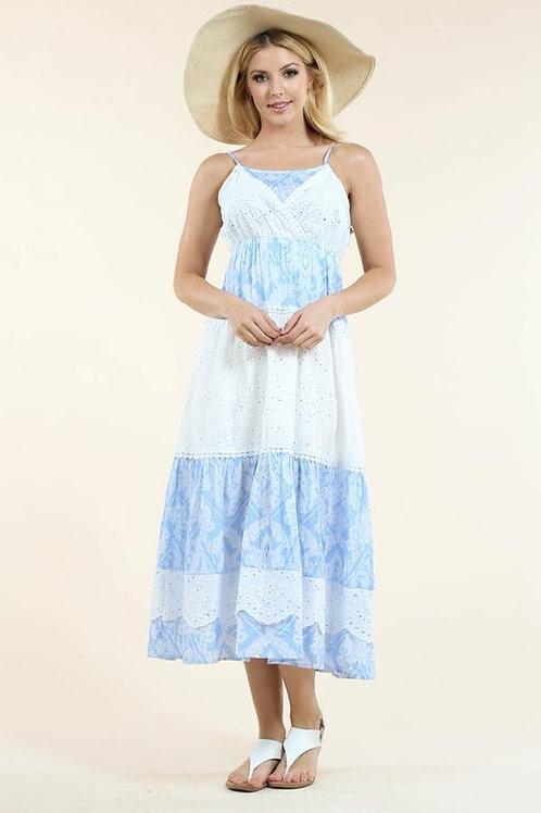69006 BLUE WHITE PRINT DRESS