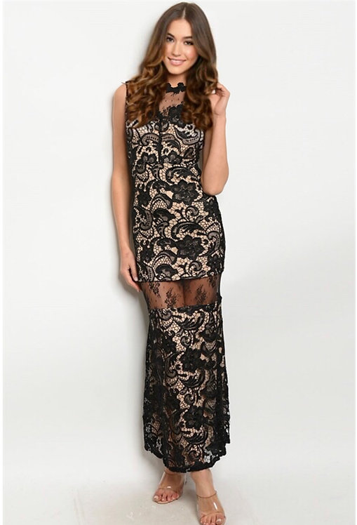2702 BLACK NUDE DRESS
