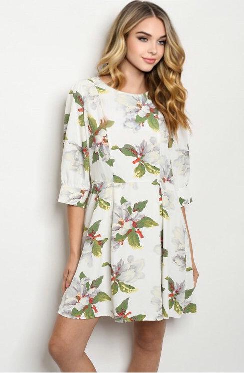 9277 IVORY FLORAL DRESS