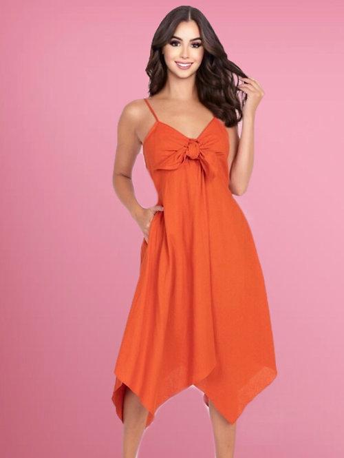 3025 Tie-Front V Neck Cami Dress