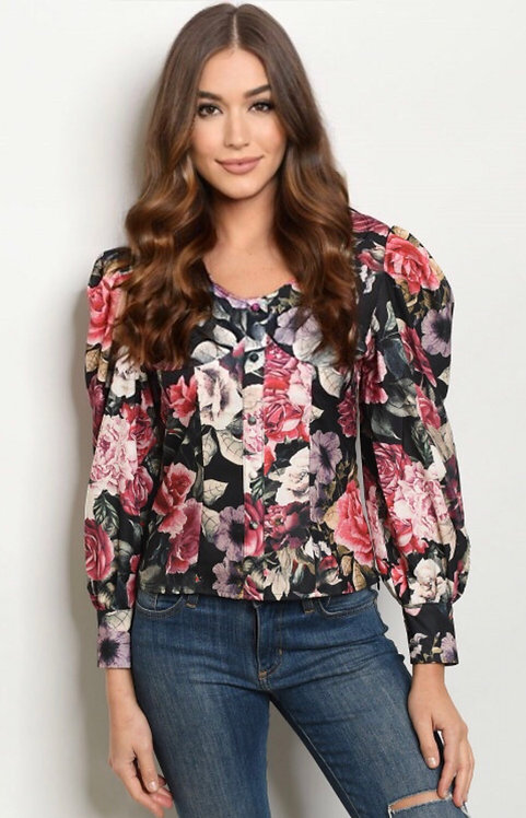 2764 BLACK WITH FLOWER PRINT TOP