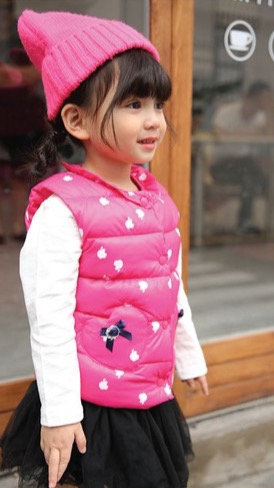 Girls Heart Pocket Light Down Vest