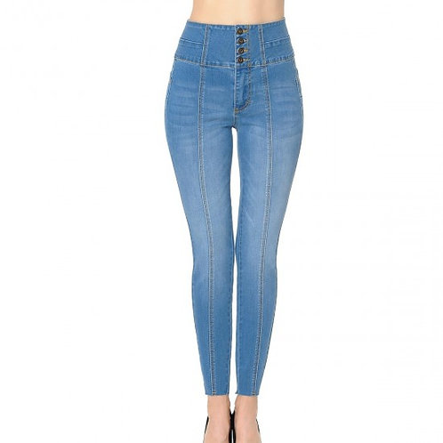 90161 Button High Waist Raw Edge Washed Denim Pants