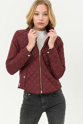 8846 Long Sleeves Zip Up Padding Jacket with Pocket