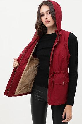 8557 Faux Fur Lined Hooded Anorak Vest Jacket