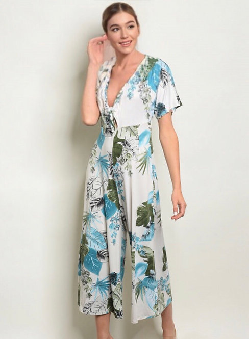90177 IVORY BLUE WITH LEAVES JUMPSUIT