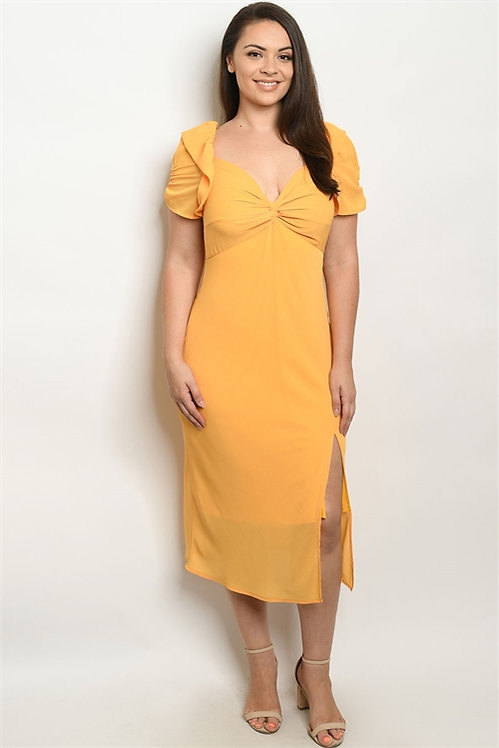 32595X MUSTARD PLUS SIZE DRESS