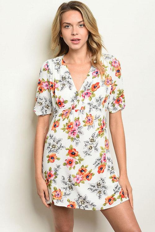 51379 WHITE ORANGE DRESS