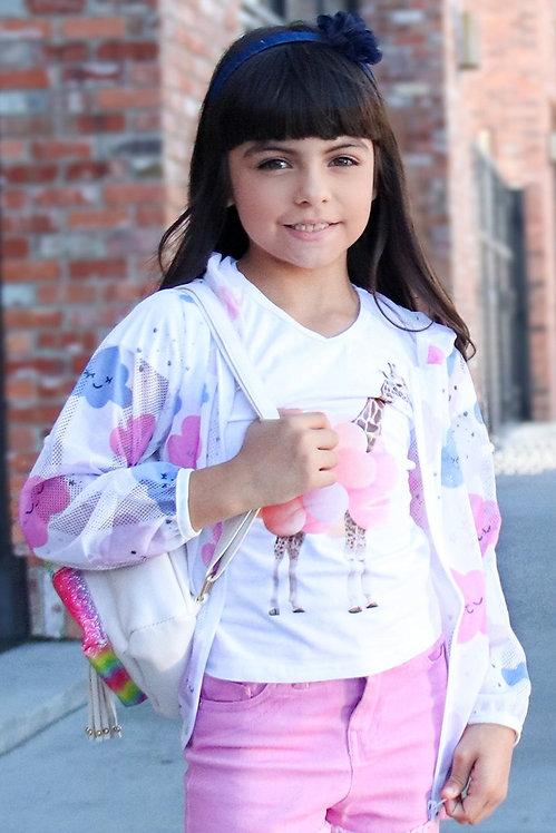 9880 Cute Breathable Windbreaker Jacket w/ Cloud Pattern