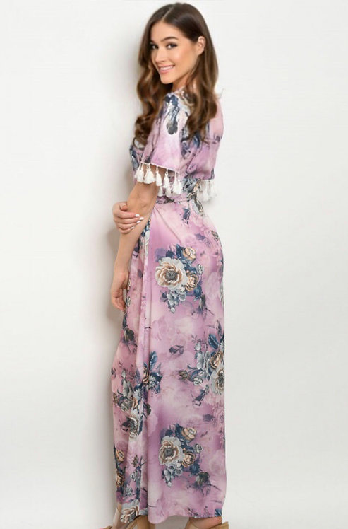 60586 LAVENDER W/ FLOWERS PRINT DRESS