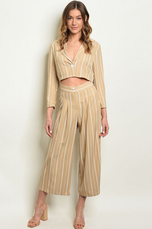 1282 NUDE IVORY STRIPES TOP &; PANTS SET