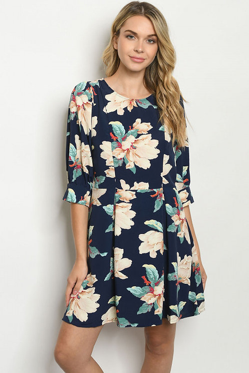 9277 NAVY FLORAL DRESS
