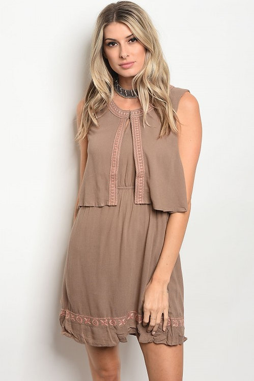 57645 TAUPE BLUSH DRESS