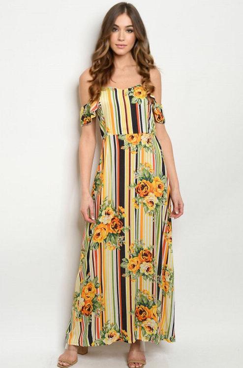 019 YELLOW STRIPES W/ FLOWERS DRESS