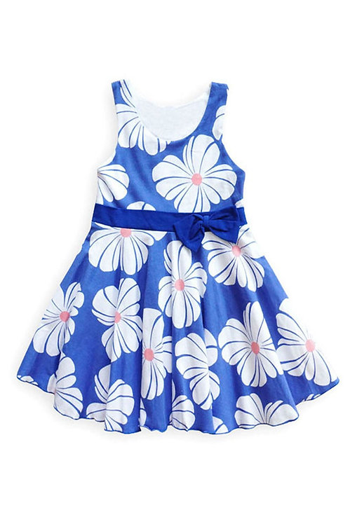 3721-15 Floral Spring Dress with Bowknot Waistband