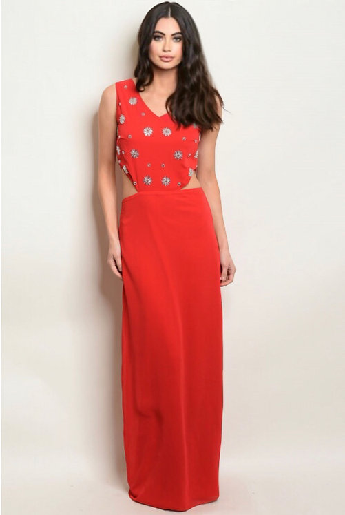 17449 RED SILVER DRESS