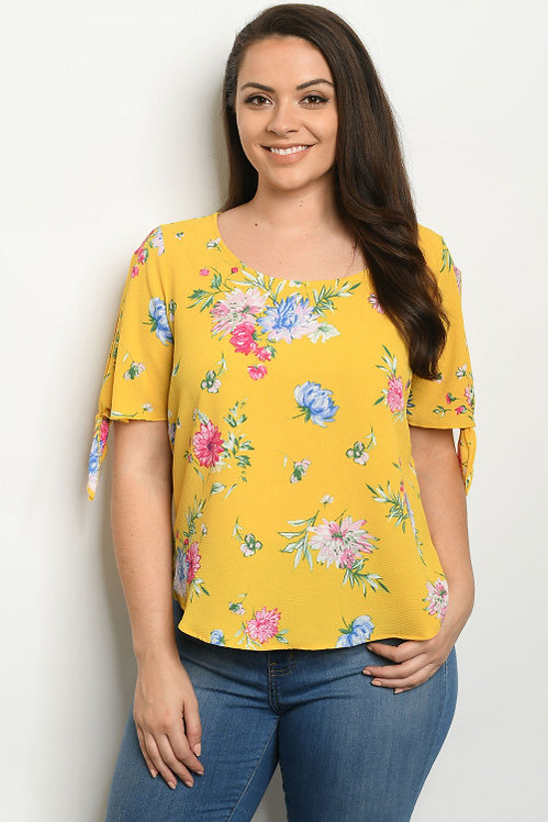 2379X MUSTARD WITH FLOWER PRINT PLUS SIZE TOP