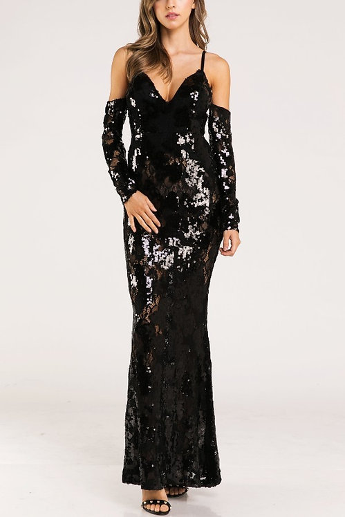 1312 BLACK WITH SEQUINS DRESS