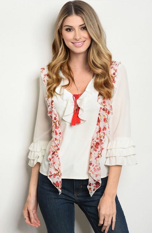 310 IVORY RED FLORAL TOP