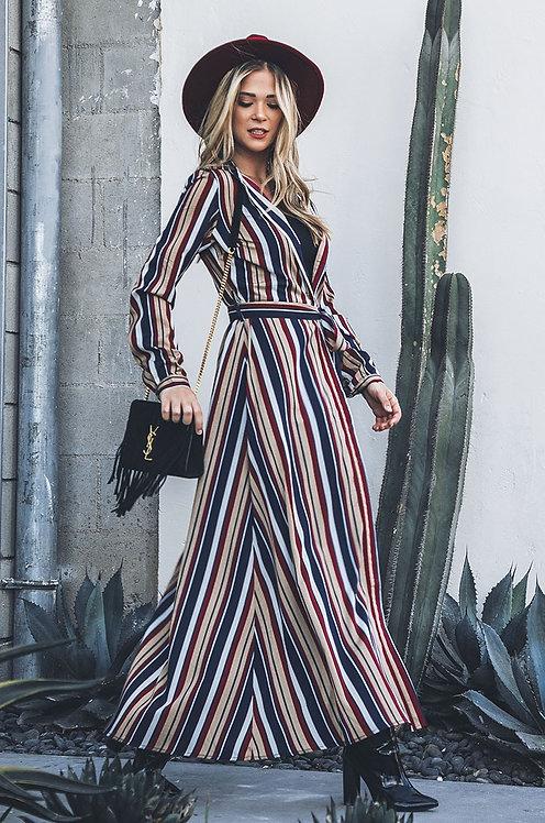 1583 long striped shirt dress