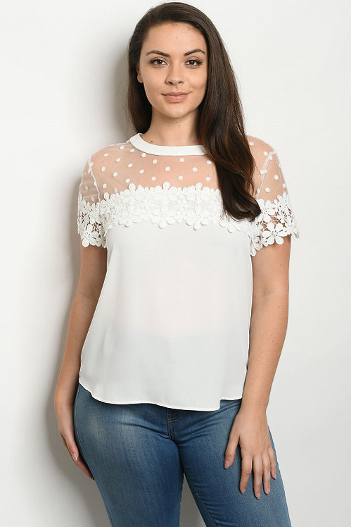 38839X WHITE PLUS SIZE TOP