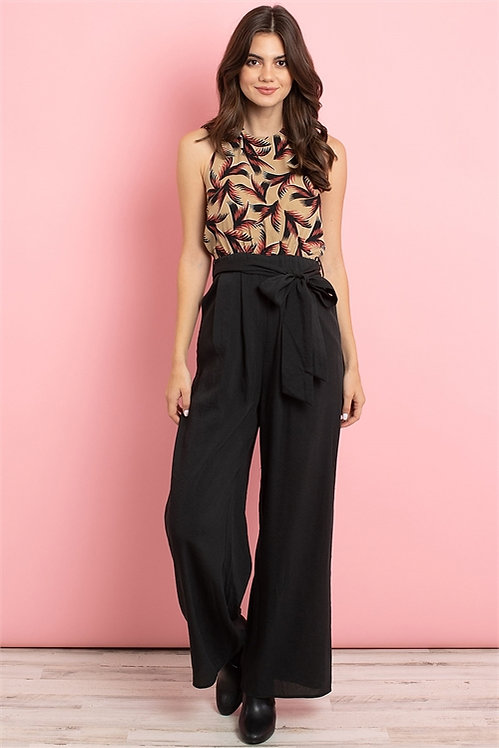 3097 TAUPE BLACK WITH LEAVES PRINT JUMPSUIT