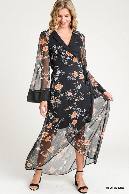 3190 Floral surplice wrap dress