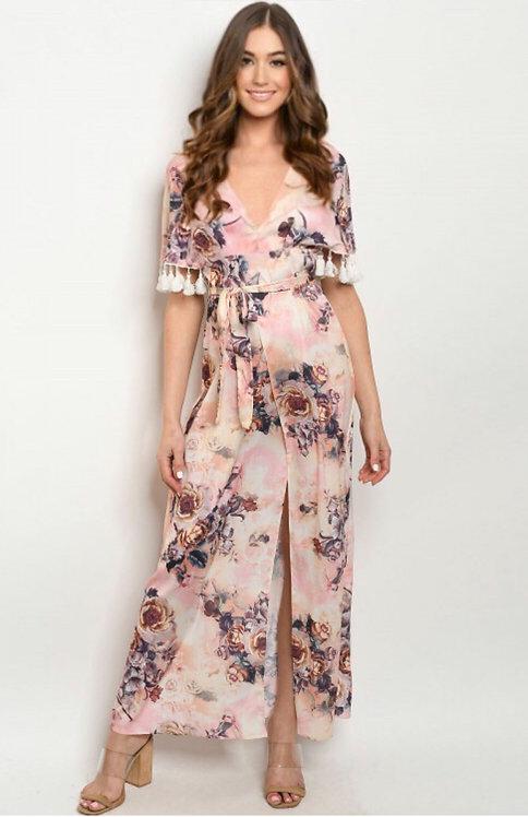 60586 PINK W/ FLOWERS PRINT DRESS