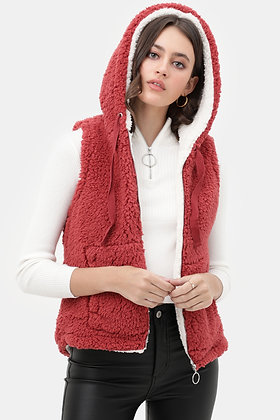 5009 Faux Sherpa Teddy Fleece Piled Zip Up Vest Jacket