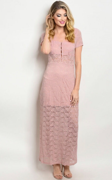 25377 DUSTY PINK LACE DRESS