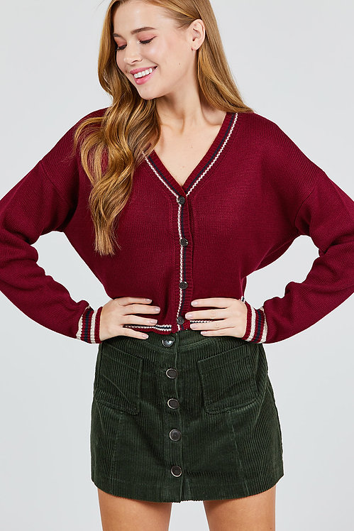 10808 BUTTON DOWN CROP SWEATER CARDIGAN