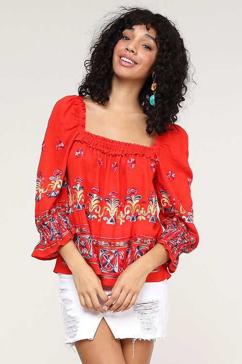 32562 Embroidered top -Loose fit