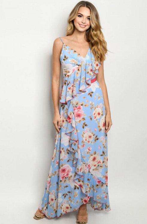 2242 BLUE FLORAL DRESS