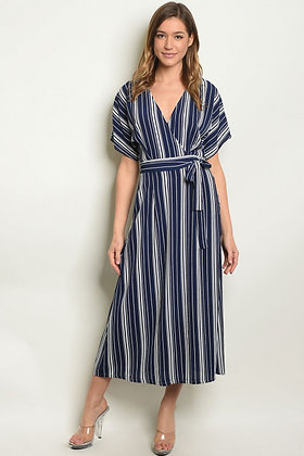 15372 NAVY WHITE STRIPES DRESS