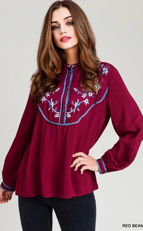3552 Embroidered Button-Up Top