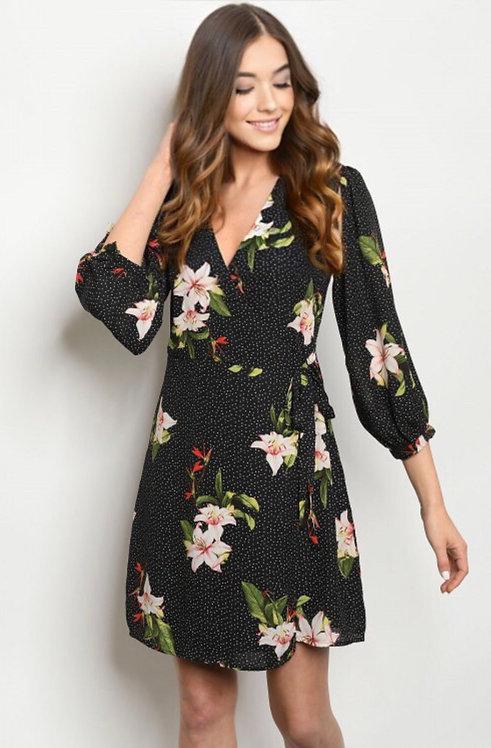 7059 BLACK WITH FLOWER DRESS