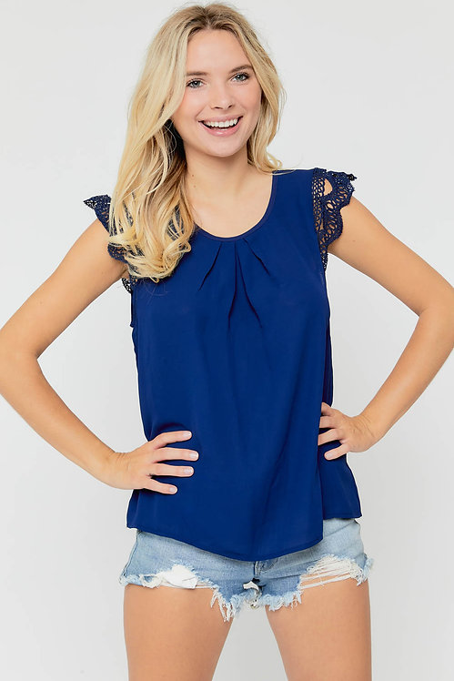 38841 LACE CAP SLEEVE TOP