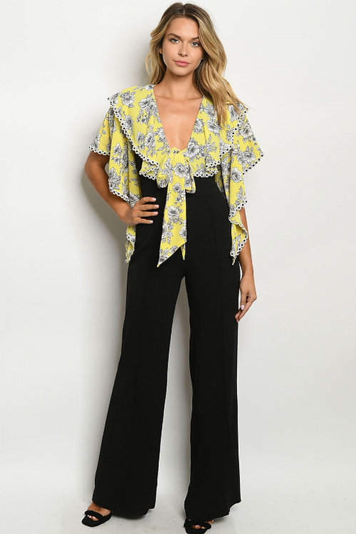 5482 YELLOW BLACK WITH FLOWER JUMPSUIT